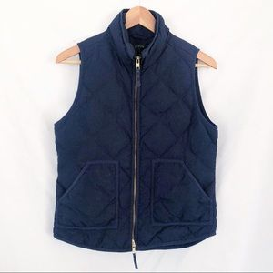 J crew navy blue quilted down vest sz S zip up